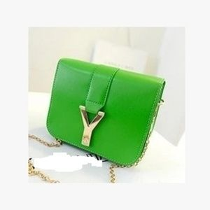 Y Letter initial lime green fashion mini chain bag